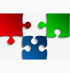 three rgb piece puzzle jigsaw vector image vector image