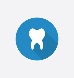 Tooth flat blue simple icon with long shadow vector