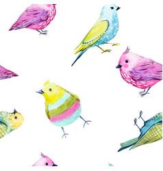 Watercolor bird pattern vector