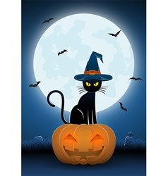 Black cat wearing witches hat sit on pumpkin head vector