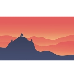 Silhouette of hight hill at sunset vector