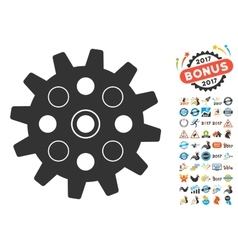 Gearwheel icon with 2017 year bonus pictograms vector