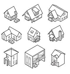 Isometric house line vector