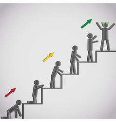 Business concept icons men on staircase vector