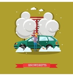 Boy clearing car from snow vector