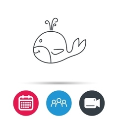 Whale icon largest mammal animal sign vector