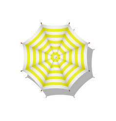 yellow and white striped beach umbrella vector image