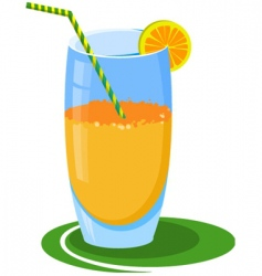 Glass of orange juice vector