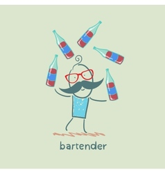 Bartender juggling bottles of wine vector
