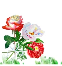 Watercolor background with red poppy-06 vector