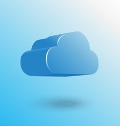 Blue cloud icon floating with shadow vector