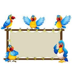 Macaw standing on wooden frame vector image