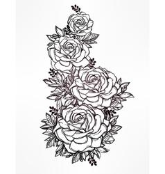 Vintage floral hand drawn rose flower stem vector image