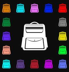 School backpack icon sign lots of colorful symbols vector