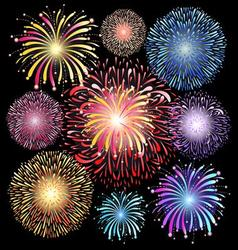 Graphic set of colorful fireworks vector