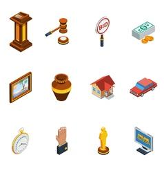 Isometric auction icon set vector