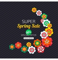 Summer sale banner with paper butterfly summer vector