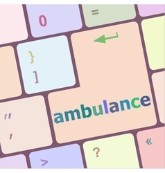 Ambulance button on modern computer keyboard key vector