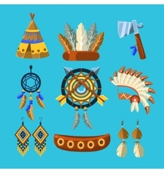 North american indians culture set vector