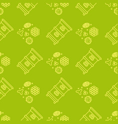 apiary and beekeeping seamless pattern vector image vector image