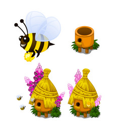 bee carrying honey and bee hive in cartoon style vector image vector image