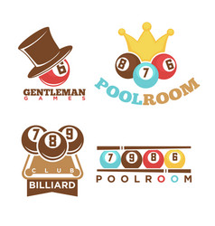 Billiard or pool club poolroom labels vector
