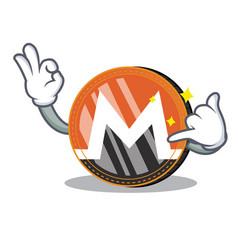 Call me monero coin character cartoon vector