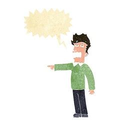Cartoon man accusing with speech bubble vector