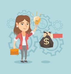 Caucasian businesswoman exchanging idea for money vector
