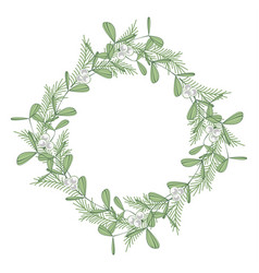 Christmas wreath with branches and mistletoe vector