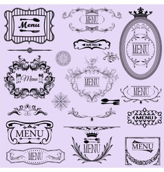 Collection of menu calligraphic frames and vector image vector image