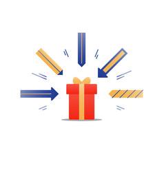 Congratulations gift box perfect present prize vector