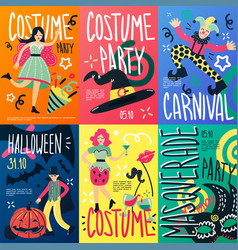 Costume party placards set vector