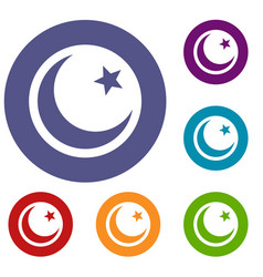 crescent and star icons set vector image