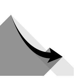 declining arrow sign black icon with two vector image vector image