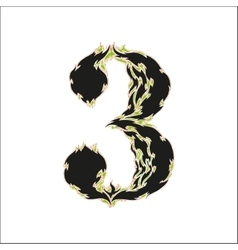 Fiery font black and green number 3 on white vector