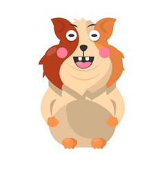 Funny hamster pet full length portrait on white vector