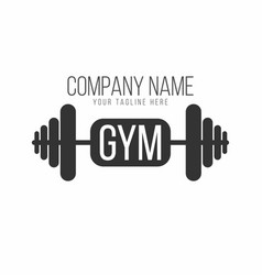 gym logo fitness logotype barbell with lettering vector image
