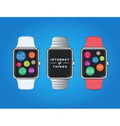 Iot internet of things on smart watch quality vector