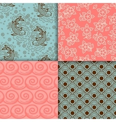 Japanese turqiouse and pink pattern set vector image vector image