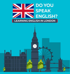 Learning english in london london sity education vector