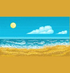pixel art seascape vector image vector image