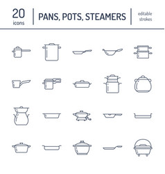 Pot pan and steamer flat line icons restaurant vector
