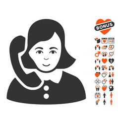 Receptionist icon with valentine bonus vector