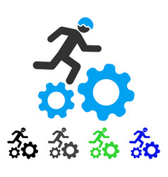 Running developer over gears flat icon vector