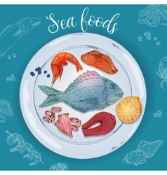 Seafood hand drawn vector