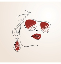 Sensual woman face with glasses vector
