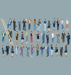 set of isometric people vector image vector image