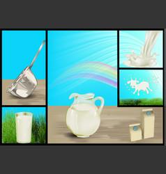 Set of milk vector