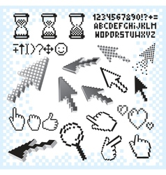 Set of Pixel Elements and Symbols Image vector image vector image